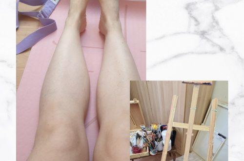 Eine Yogamatte und eine Staffelei für Malerei